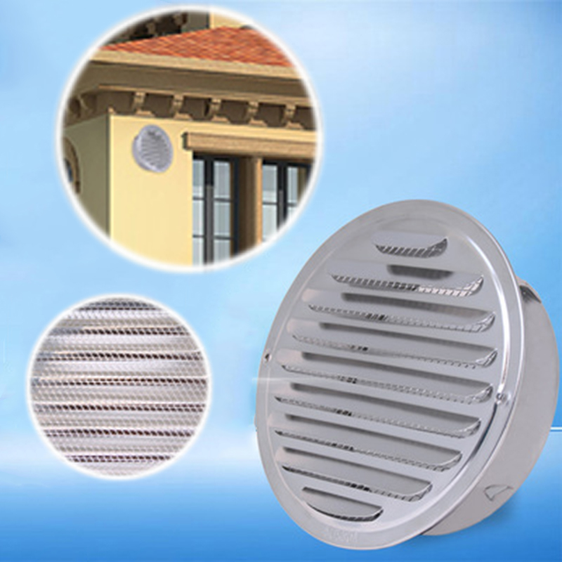 Stainless Steel Round Louver Wall Air Vent Air Outlet Ducting Ventilation Exhaust Grille Cover 80mm/100mm/120mm/160mm