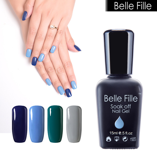 Belle Fille Gel Nail Polish Dusty Blue Color Coat Need Top Manicure Art Grey