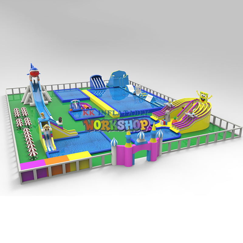Inflatable water park combination