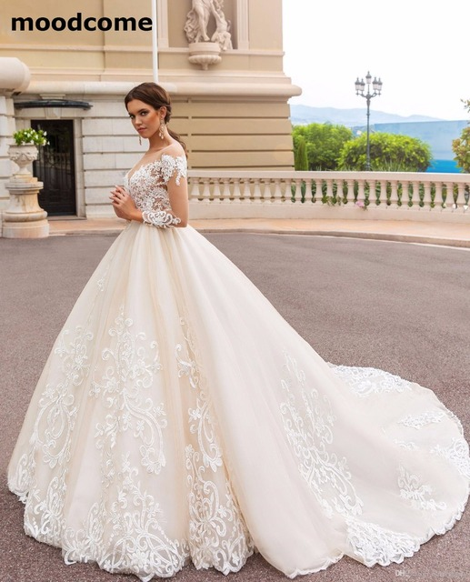 664961397c53 2018 Long Sleeves Ball Gowns Wedding Dresses Modest Sheer Neckline Lace  Appliques Bridal Gown Court Train