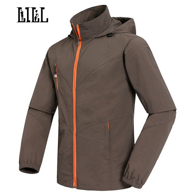 LILL | Men's Breathable Waterproof Jacket Hooded Spring Summer Rain Coat Black Khaki Men Jackets Quick Dry Windbreaker,UA161