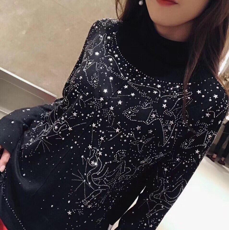 Chandail Femmes Automne Nouvelles Couleur 17 10 Diamants Cachemire 3 2018fw Msx Eq6Xawq