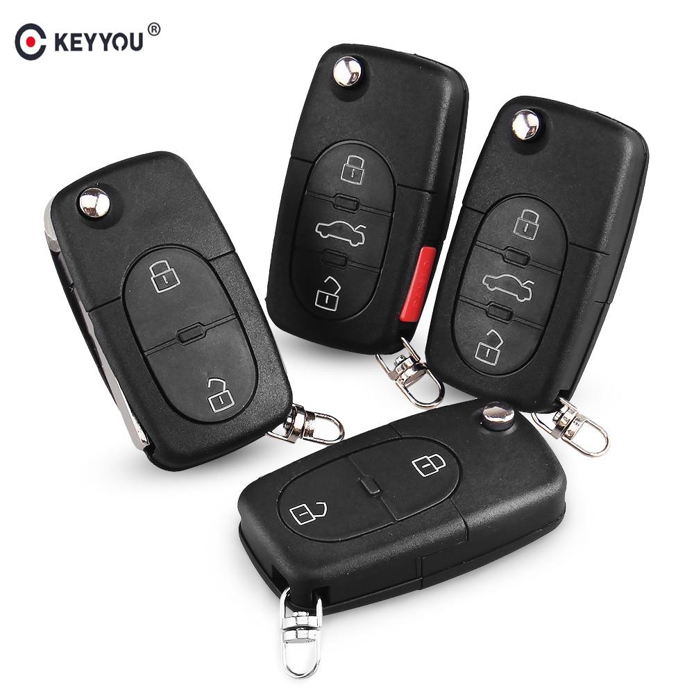 KEYYOU-coque de clé télécommande, pliable, avec 2/3/4 boutons, compatible avec CR1616, pour voiture VW/Volkswagen Passat, Jetta, Golf coccinelle