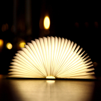 Oobest Creative Fashion LED Night Light Folding Book USB Port Rechargeable Wooden Magnet Cover Home Table