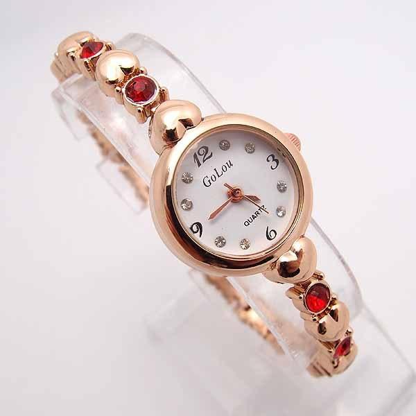 3efbbc67afee5 Gorąca Sprzedaż Złota Róża Serce Bransoletka Zegarek Kobiet Moda Damska  Kryształ Sukienka Kwarcowe Zegarki Na Rękę Relogio Feminino GO095