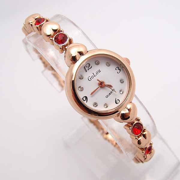 Hot Sale Rose Gold Heart Bracelet Watch Women Ladies Fashion Crystal Dress Quart