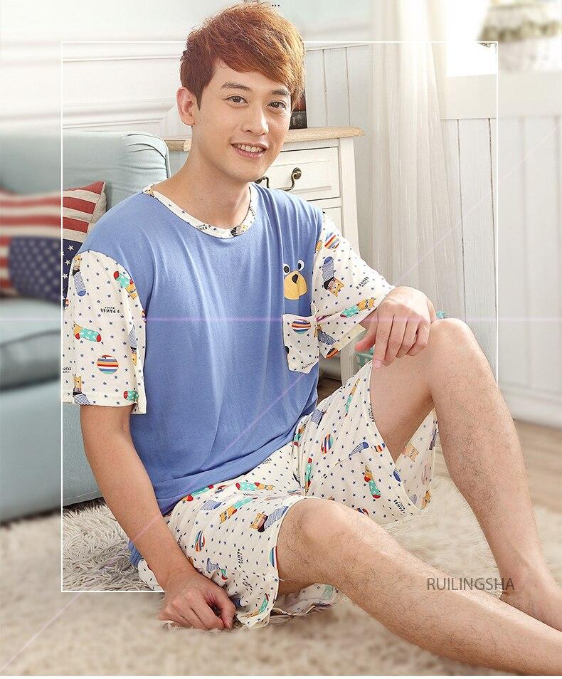 2019 calções de manga curta conjuntos de pijama terno homens pijama