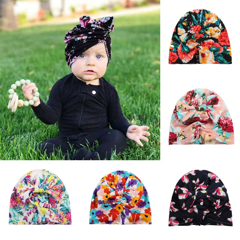 Fashion Lovely Floral Print Girls Hat Turban Spring Summer Soft Rabbit Ears Cap With Cute Bows(China)
