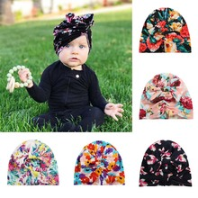 Fashion Lovely Floral Print Girls Hat Turban Spring Summer Soft Rabbit Ears Cap With Cute Bows