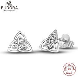 EUDORA Real 925 Sterling Silver Triquetra Celtics Trinity Knot Stud Earring Fashion Triangle Earring for girl Fine Jewelry CYE78