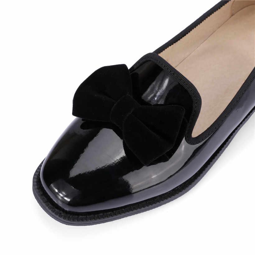Mode Bowtie Vrouwen Loafers Rode Lakleer Vierkante Teen Flats Britse Slip-on Mocassin Casual Kantoor Dame Jurk Schoenen maat 48