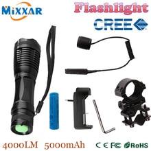 Zk30 CREE XM-L T6 4000LM Linternas Linterna táctica LED Linterna Antorcha Caza Luz de Luz de Flash con Cargador de Pistola de Montaje