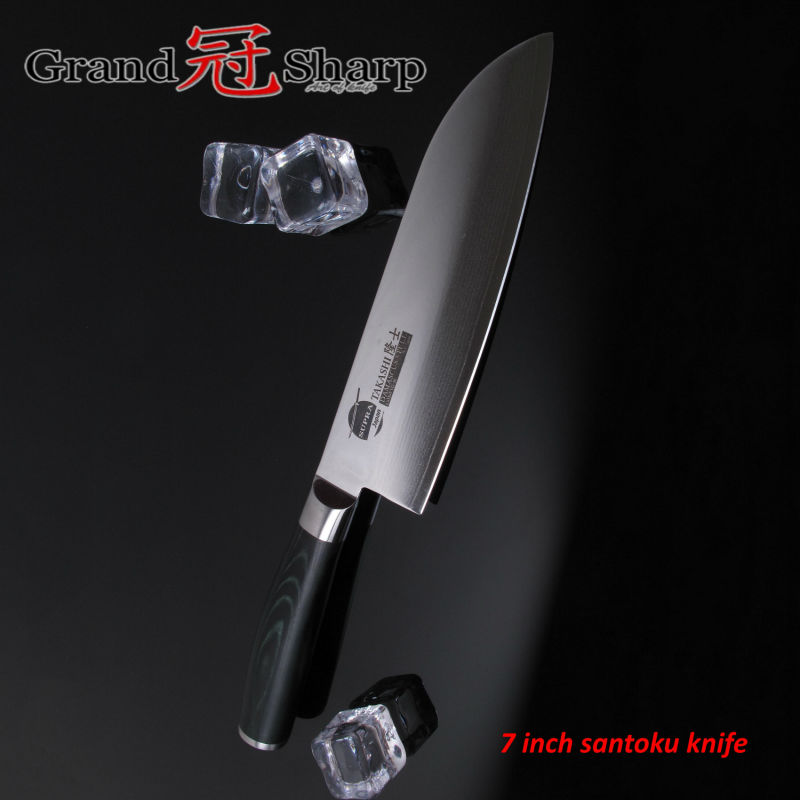 GRANDSHARP 7 Inch Santoku font b Knife b font Japanese Damascus Stainless Steel VG 10 Core