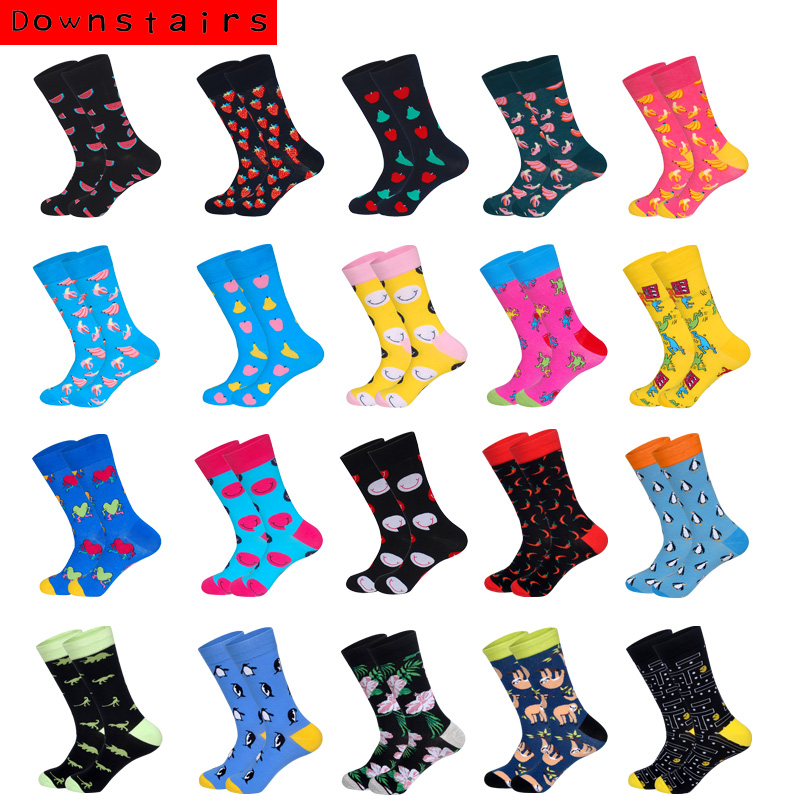 Downstairs Breathable Men Socks 21 Color Combed Solid Street Style Penguin Smiling Banana Originality Pattern Crew Happy Socks