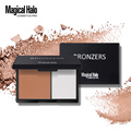 Hot bronce bronceador highlighter highlighter powder shimmer maquillaje paleta de belleza de la cara se ruboriza color doble corrector en polvo