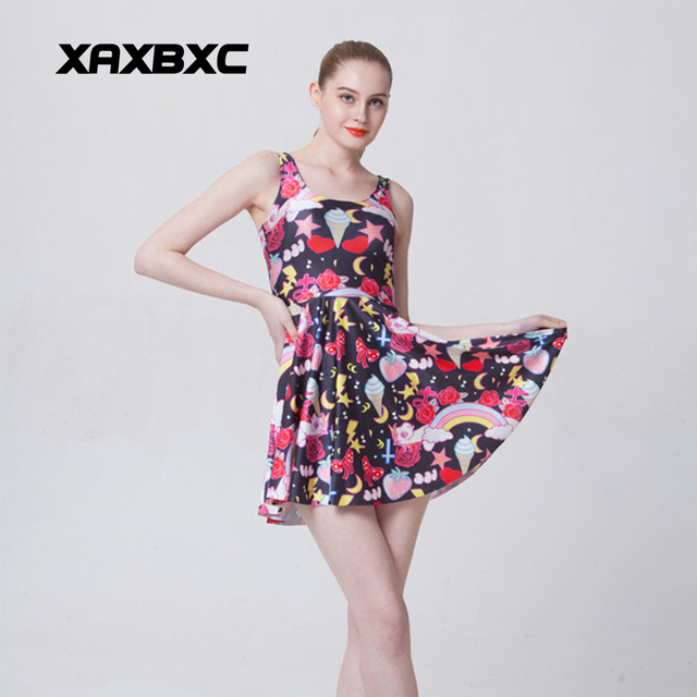 f1a2b8b371f XAXBXC 1027 Summer Sexy Girl Dress Ice cream Rainbow Unicorn Pony Prints  Reversible Vest Skater Women Pleated Dress Plus Size
