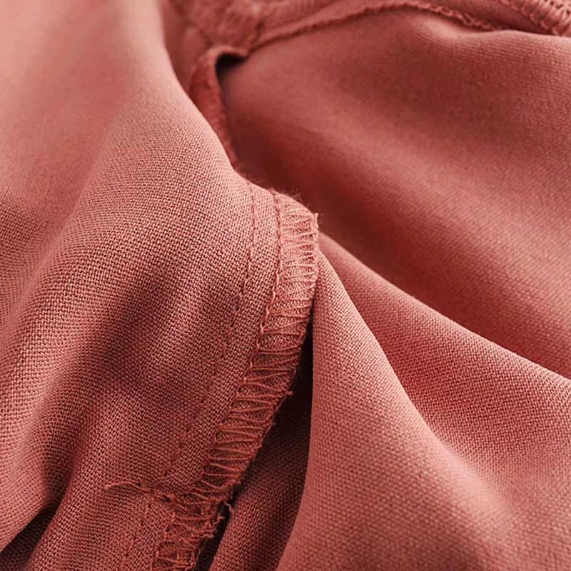 Women Red Chic Za Long Jumpsuit 2019 Spring Women-s Fashion Adjustable High Waist With Belt V-neck Bodysuit combinaison femme