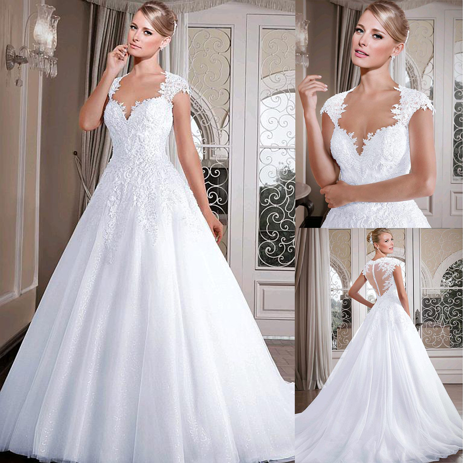 Illusion Back Bridal Gowns Romantic Tulle Sweetheart Neckline A-line Wedding Dresses With Beadings Lace Appliques
