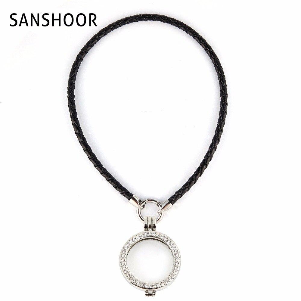 ᗖMujeres 40 cm collar de cuerda de cuero negro con 35mm aleación de ...