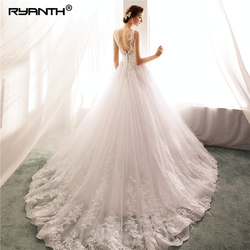 Robe De Mariage 2019 Vestidos de novia Sexy Spaghetti Strap V Neck Bead Sash Wedding Dress Cheap A Line Wedding Gowns 3