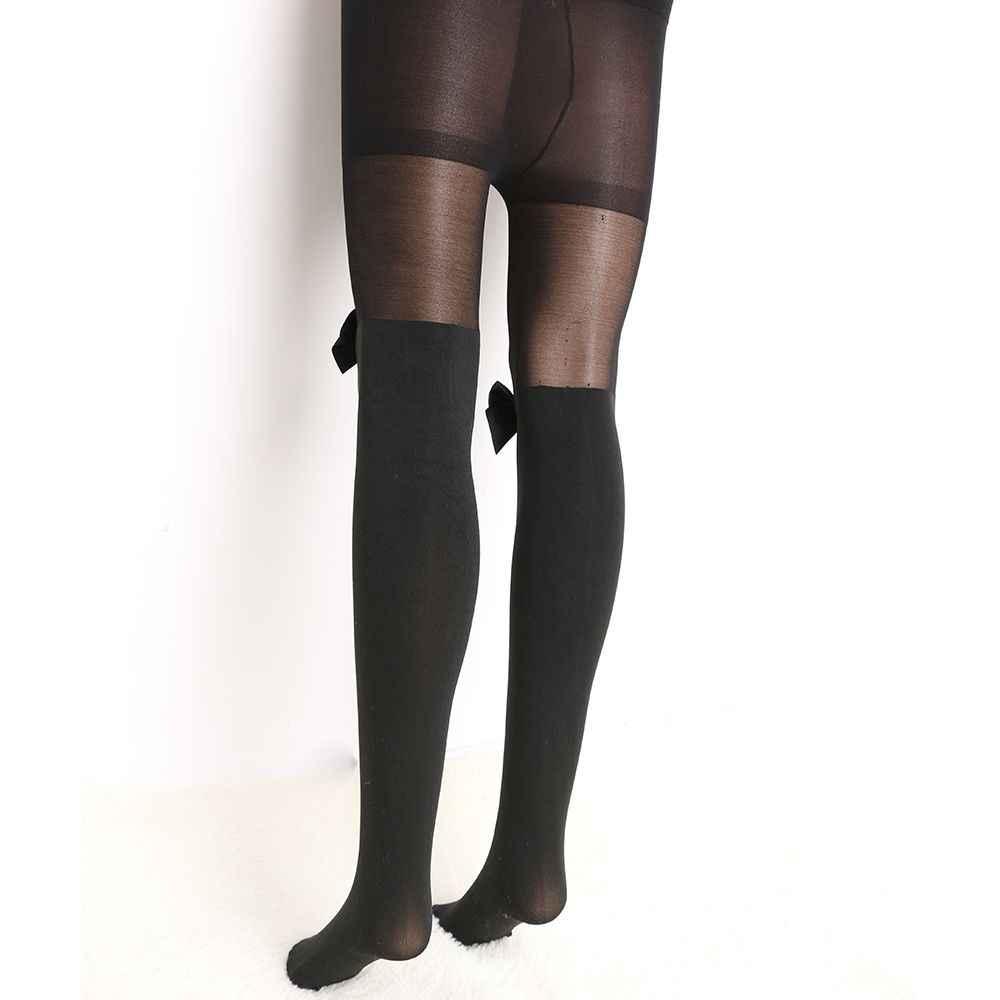 2018 ขายเซ็กซี่ผู้หญิง Bow Suspenders Pantyhose ถุงน่องสีดำ Boot กำมะหยี่ผ้าฝ้ายนุ่มกว่าเข่า Tights
