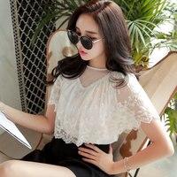 Original 2018 Brand Summer Mori Girl Fashion Short Sleeve O Neck Vintage Lace Embroidery Chiffon Blouse