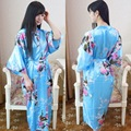 Elegant Flower China National Women Kimono Bath Gown Summer Faux Silk Robe Dress Summer Printed Long Nightwear One Size 0105