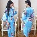 Elegante de La Flor Nacional de China de Las Mujeres Faux Silk Robe Kimono Bath Vestido de Verano Vestido de Verano Impreso Larga camisa de Dormir de Un Tamaño 0105