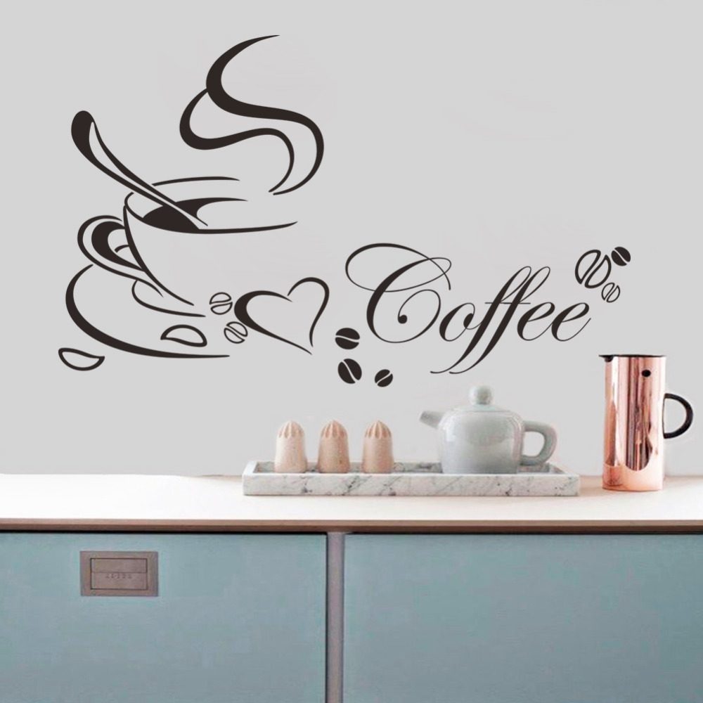 Free shipping coffee cup vinyl quote removable kitchen for Kitchen wall art sets