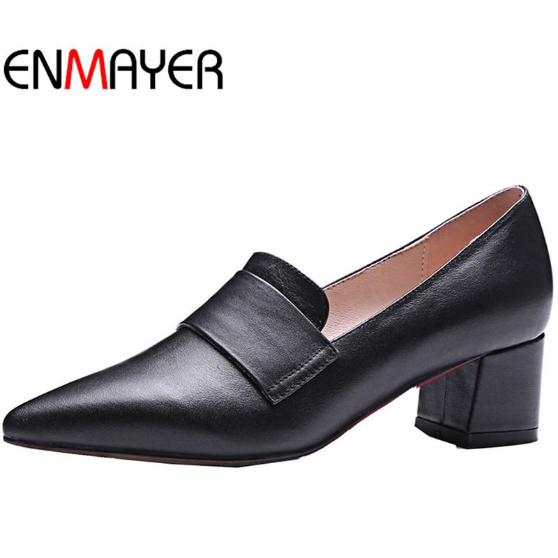 ENMAYER Fashion Shoes Women  Low Square Heels  Slip-on  Spring&Summer Pointed Toe Shallow Casual Dress Shoes Size 33-43 enmayer pointed toe summer shallow flats slip on luxury brand shoes women plus size 35 46 beige black flats shoe womens