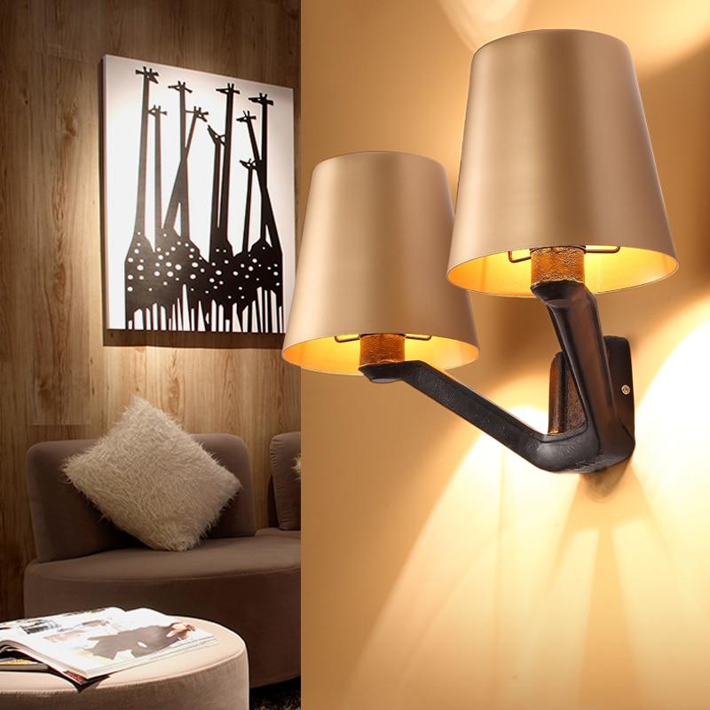 Luxus Nordic Wandleuchte Gold Lampenschirm Eisen Kunst Moderne