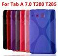 X línea caso de la piel cubierta tab case tpu gel de silicona suave de la contraportada proteger shell para samsung galaxy tab a 7.0 t280 t285 2016 edición