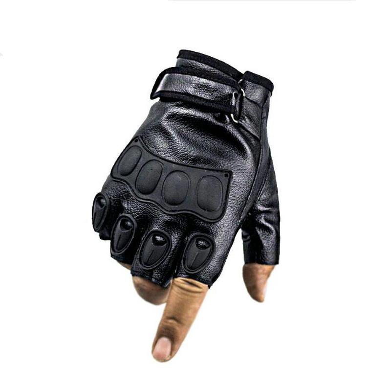 Men's Fingerless Riding Driving Thin Mittens Genuine Leather Grain Half Finger Gloves тактические перчатки