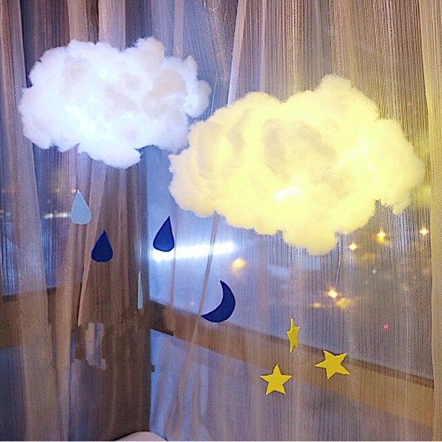 diy handmade kids cute cotton cloud shape lamp room light home decor