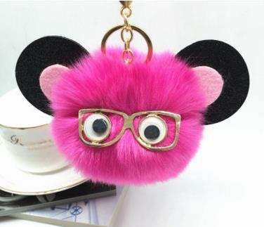 Cartoon Monster Fake fox bunny mouse fur pompom pom pom keychain key chain women bag monster puppe jewelry golf car bag pendant