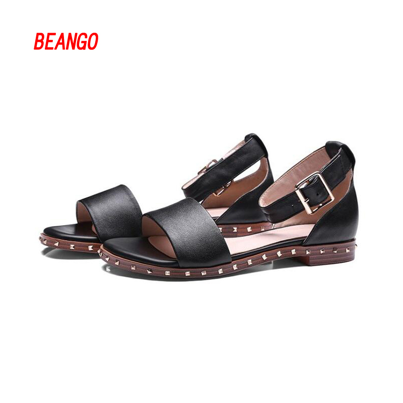BEANGO Fashion Women Sandals flat Buckle strap gladiator Shoes cover heel rivet New Arrival Genuine Leather Comfortable Sandals 2017 new arrival hot sale fashion summer sweet women flats heel sandals casual buckle strap roman sandals flat flat women shoes