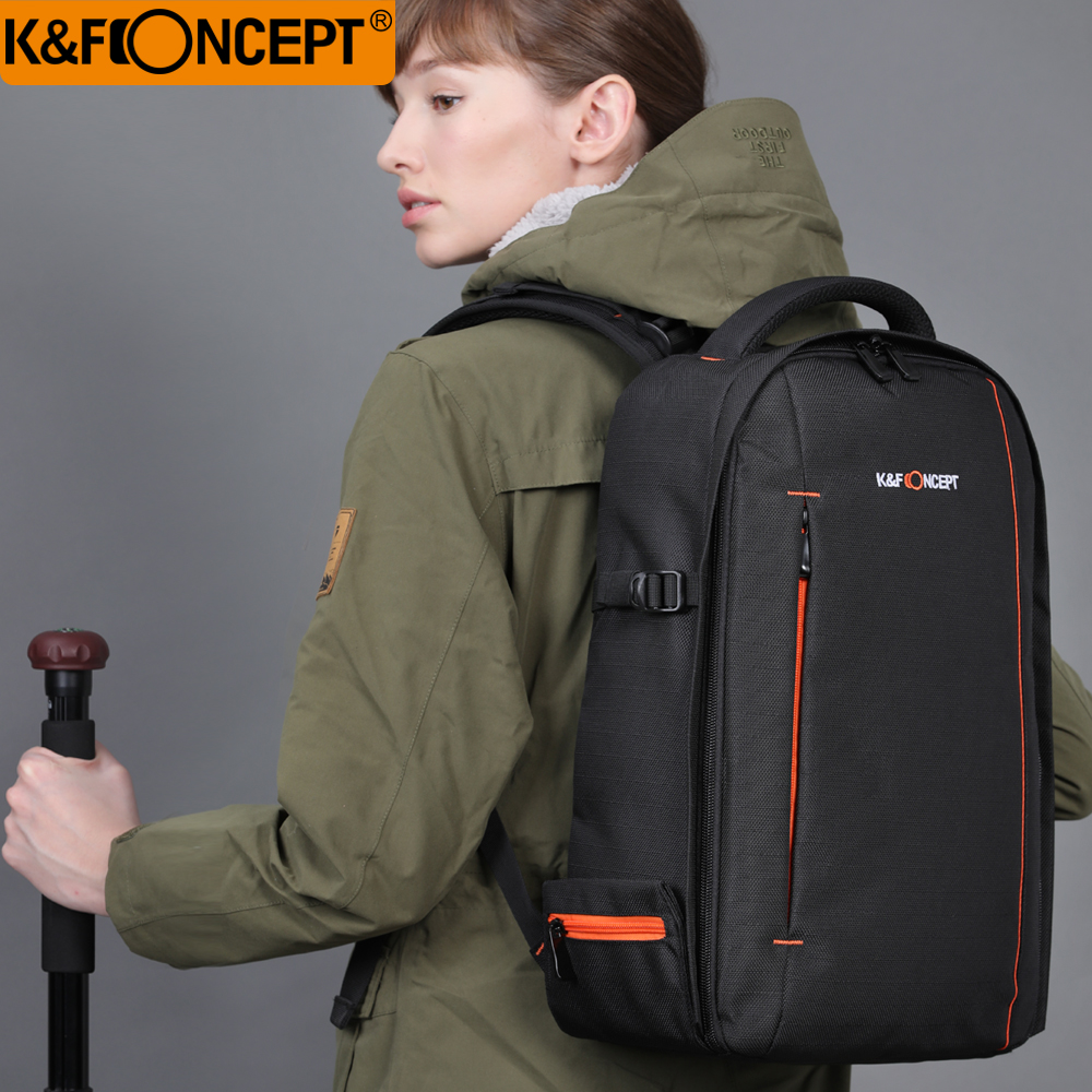 K&F CONCEPT Camera Backpack Black Waterproof DSLR SLR Camera Bag Hold 1 Camera+Lenses+8 Removable Divider for Canon/Nikon/Sony