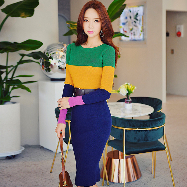 Dabuwawa Contrast Color Long Pencil Dress For Girls Women Lady New Winter Vintage Elegant Slim Knitted Midi Dresses D18DDR033
