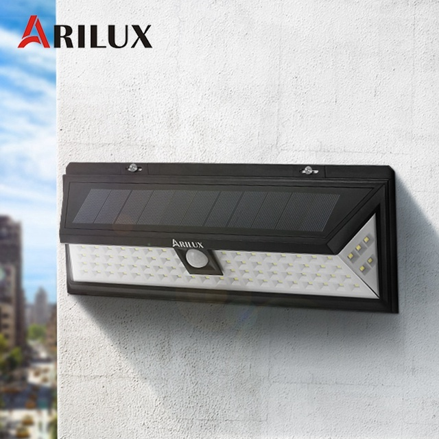 ARILUX AL SL12 PIR Motion Sensor 80 LED Solar Light Outdoor Solar Powered  LED Garden