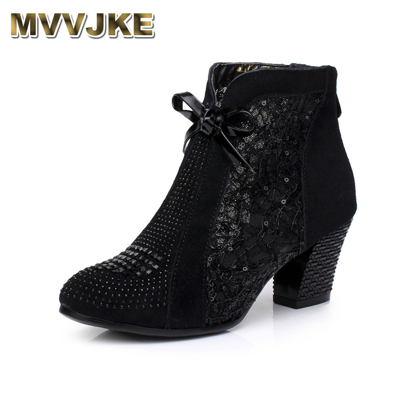 MVVJKE Thick Mid Heel Genuine Leather Lace Bowknot Rivets Summer Women Fashion Sandals Ankle Boots yaerni thick mid heel nubuck leather lace floral bowknot pearl rivets summer women fashion sandals ankle boots plus size 32 42