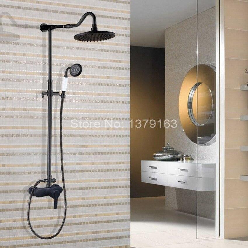 Black Oil Rubbed Brass Single Lever Wall Mount Bathroom Rainfall Shower Faucet Set Mixer tap Rain Shower Head Hand Shower ahg658