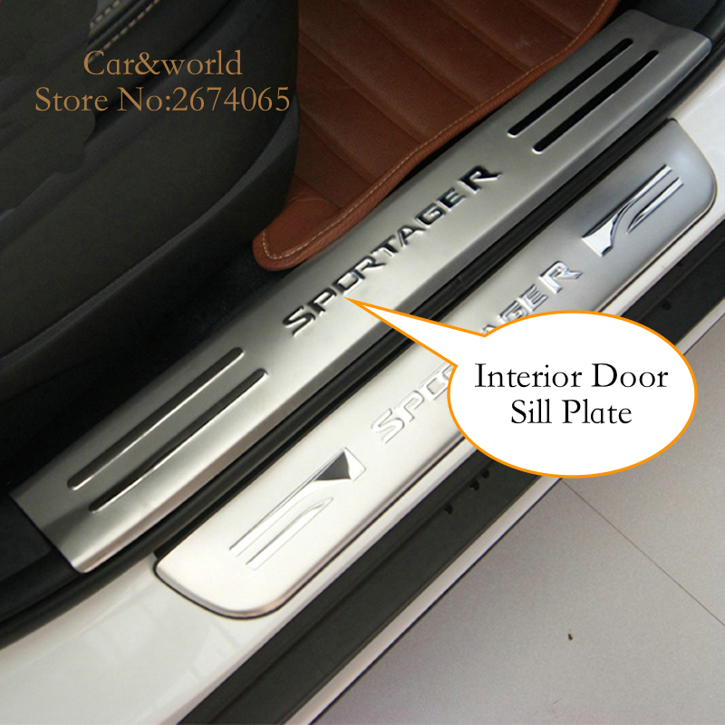 For KIA Sportage R 2011 2012 2013 2014 Scuff Plate Door Sill Guard Welcome panel cover trim Stainless Steel 2015 Car Accessories