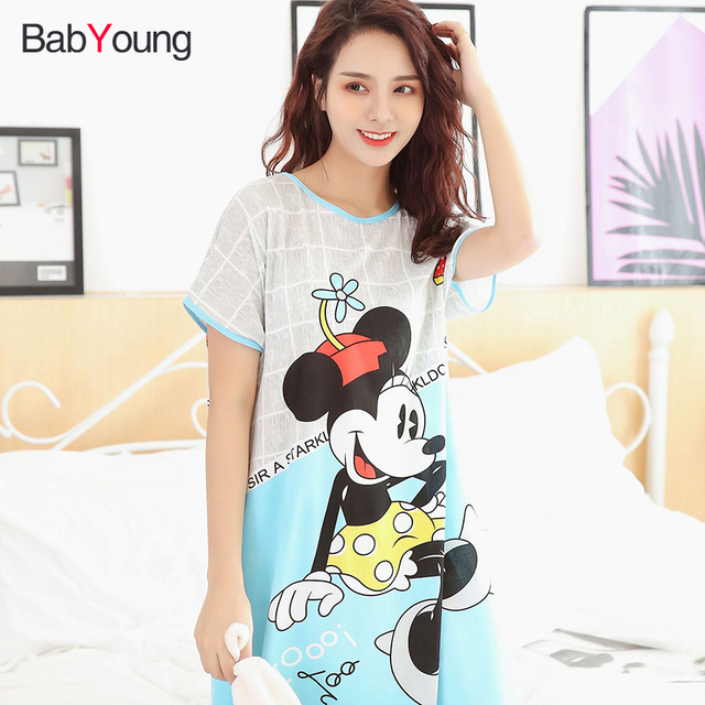 BabYoung Pyjamas Girl Sleep Dress Women Summer Loose Cartoon Cute Sleepwear  Nightgown Nightdress Home Wear Female Nighties b1c54cb64