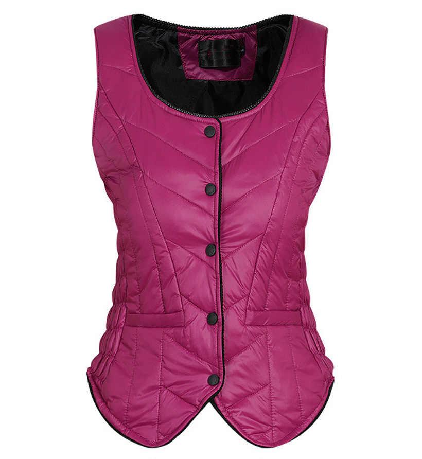 다운 재킷 조끼 여성 짧은 단락 자기 재배 따뜻한 조끼 하네스 겨울 브랜드 여성 셔츠 라이너 조끼