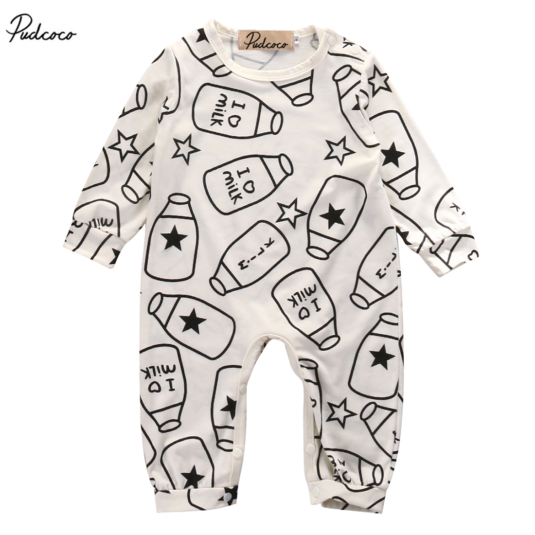 New 2017 Summer Newborn Kids Baby Boy Girls Infant Milk Bottle   Romper   Long Sleeve Jumpsuit Clothes Outfit 0-12M