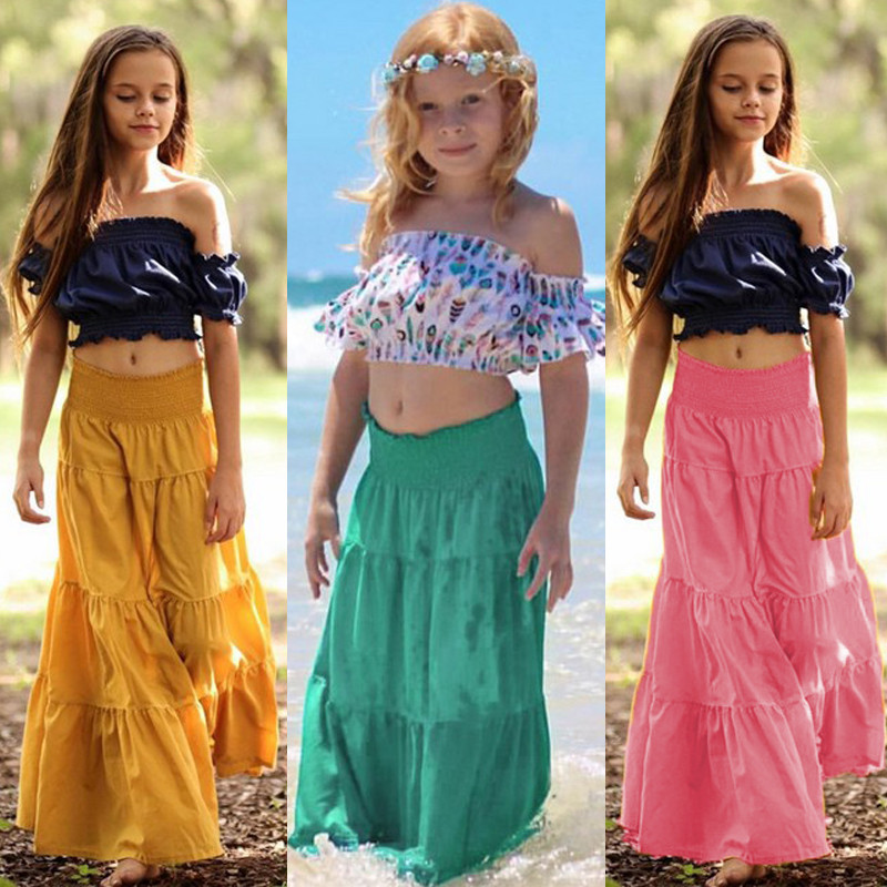 Brand New Baby Toddler Girls Kids Long Maxi Skirt Princess High Waist Beachwear Beach Skirt Dance Party Pleated Tutu Skirt