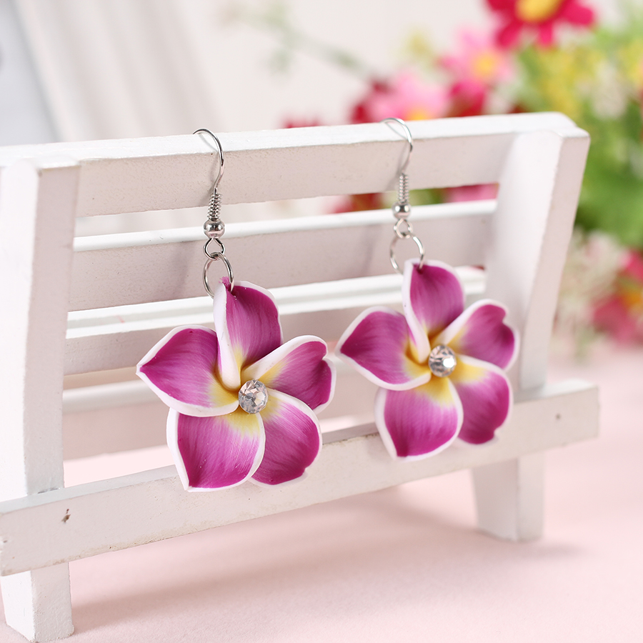 2pairs/lots 30mm Bohemia Polymer Clay Fimo Plumeria Flowers Frangipaniers Drop Earrings Cute For Bali Holiday Jewelry Decoration