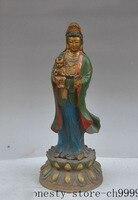 christmas china buddhism bronze lotus boy lad child Kwan Yin Bodhisattva Goddess statue halloween