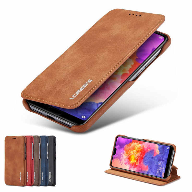 Luxury Leather Flip Case For Huawei P20 Lite Pro Phone Cover Wallet Stand Shockproof Retro Business Case on P20pro P20lite Coque