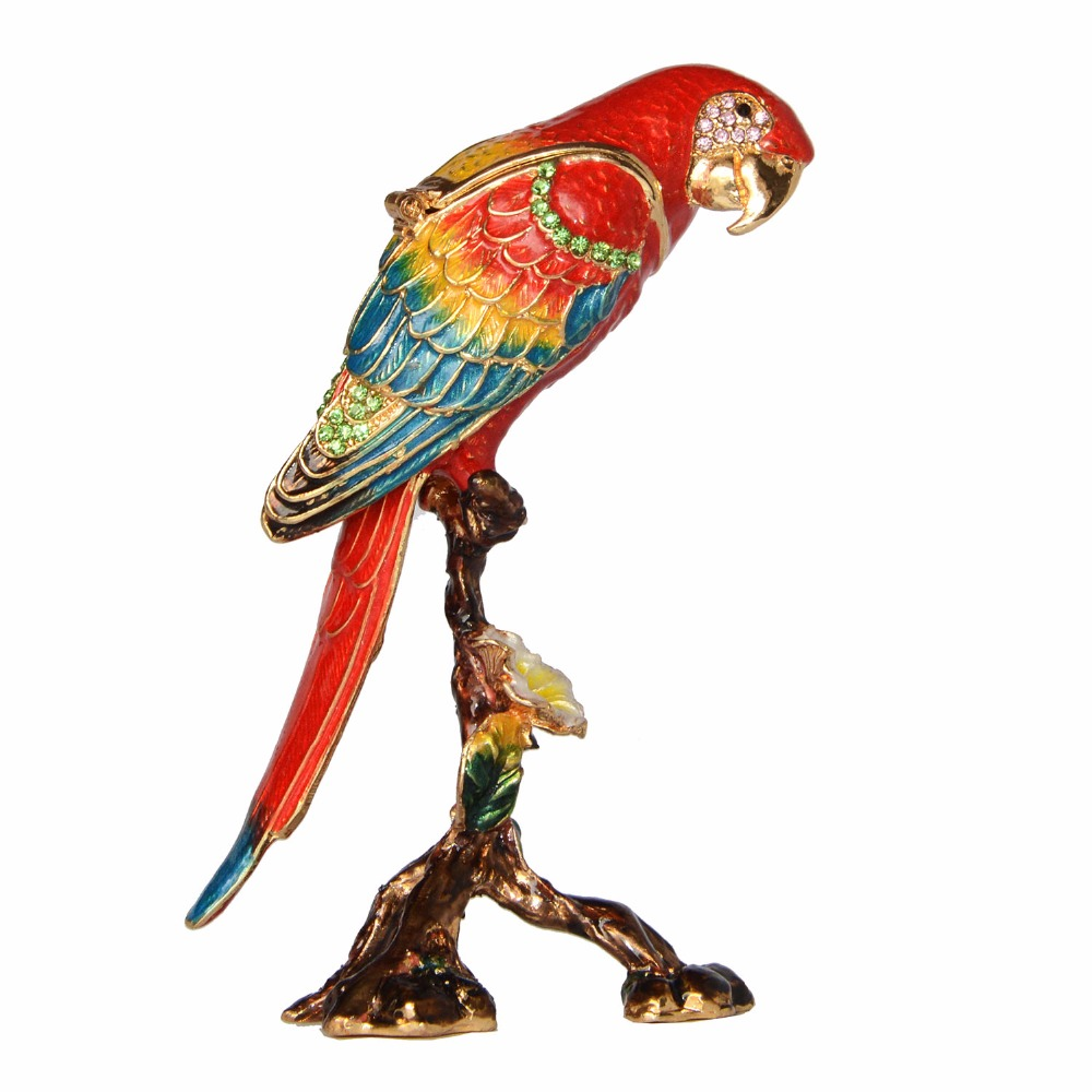 Macaw Parrot Trinket Box Enamelled Hinged Jewelry Box